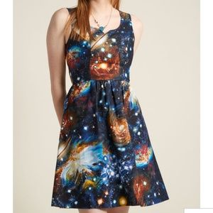Modcloth galaxy solar dress A line size 10